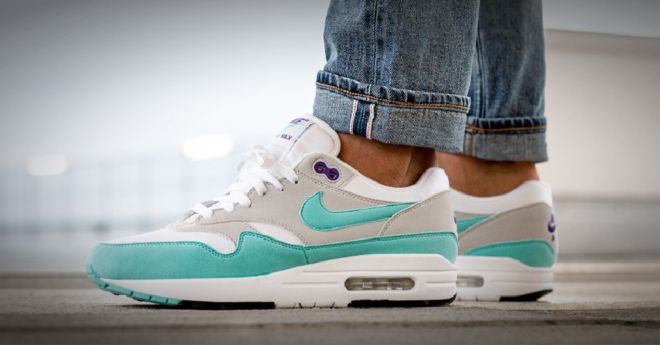 Nike Air Max 1 Anniversary OG Aqua White Blue Men Running Shoes 908375 105 8