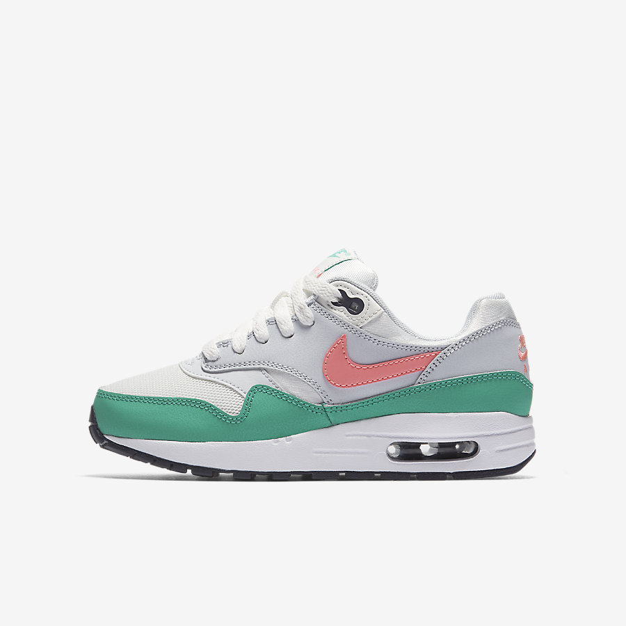 Nike Air Max 1 Youth GS kids shoes grey neon