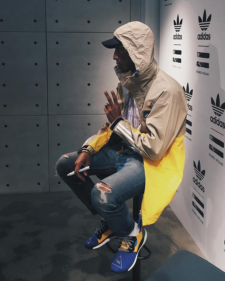 Pharrell x adidas HU Glide ST Black On Foot Look | HYPEBEAST