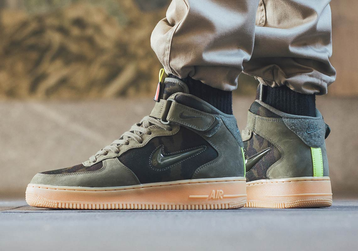 Olive green Air Force ones mid top