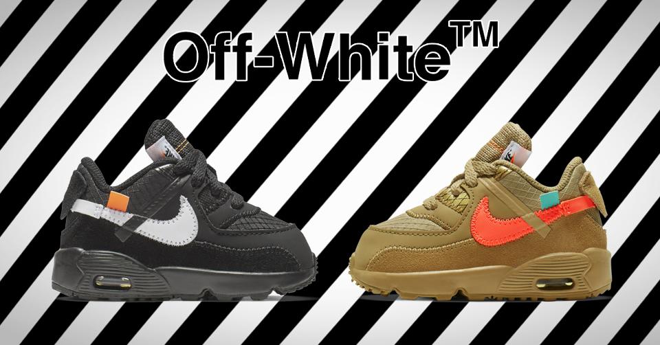 De Off White X Nike Air Max 90 sneakers komen ook voor kids