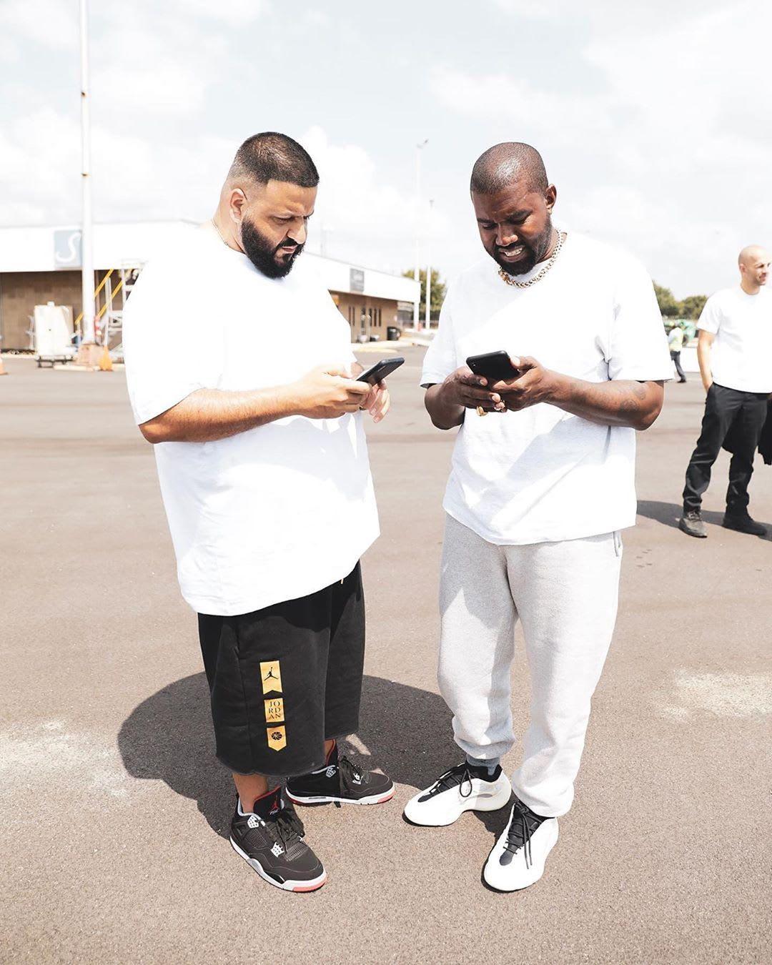 Kanye West, met zijn ongereleasde Yeezy's, en DJ Khaled