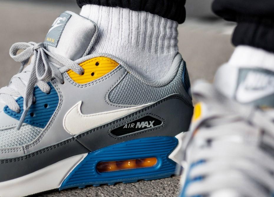 AJ1285 110 Nike Air Max 90 Essential Blue Gold | KicksCrew