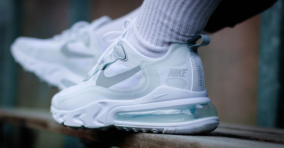 Een release reminder van de Nike Air Max 270 React 'White