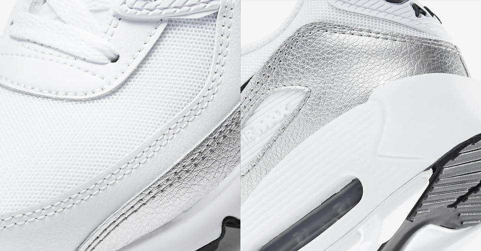 Pak alle shine met deze Nike Air Max 90 'WhiteSilver