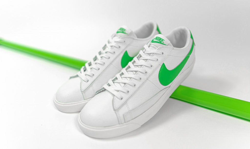 nike Blazer low leather green swoosh