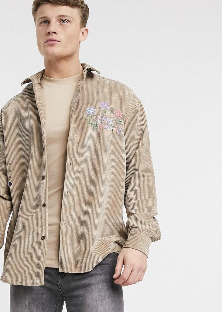 corduroy shirt light brown for men