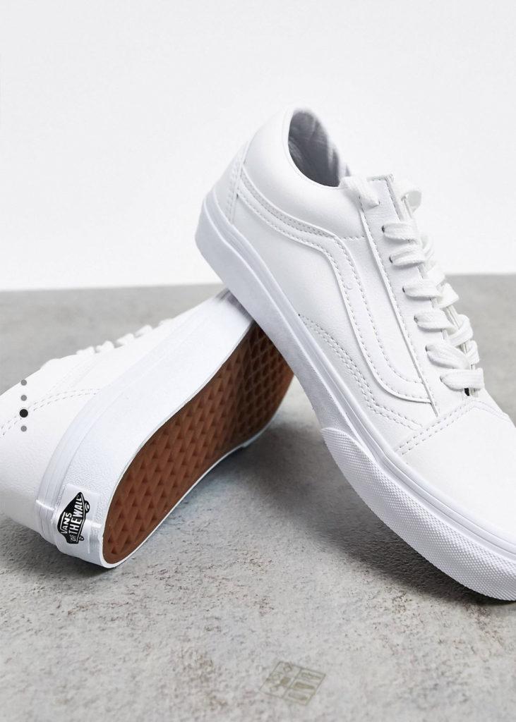 White leather Old Skool Vans