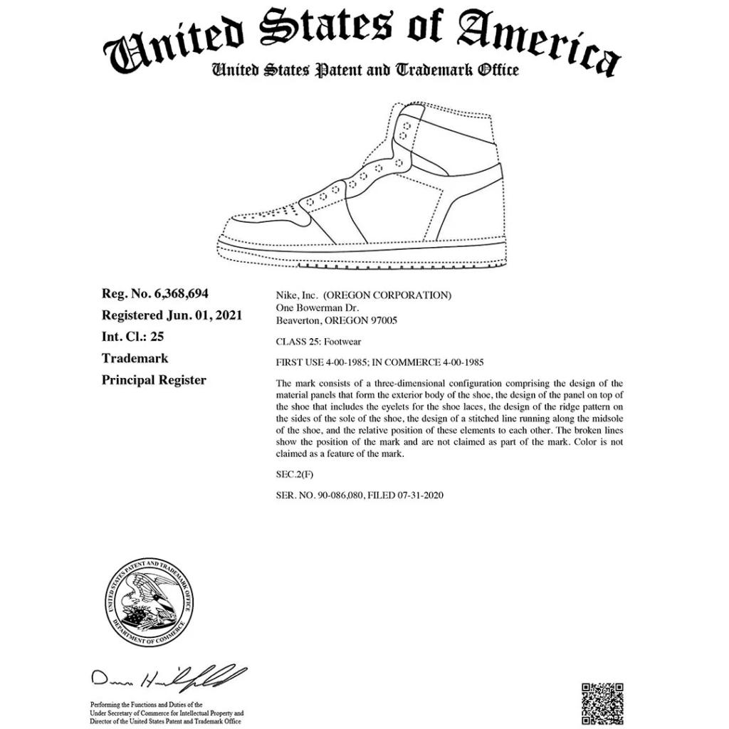 Trademark Air Jordan 1