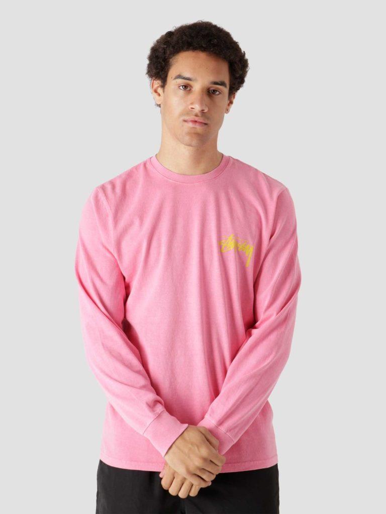 Stussy Painter Pig. Dyed Longsleeve T-Shirt Pink