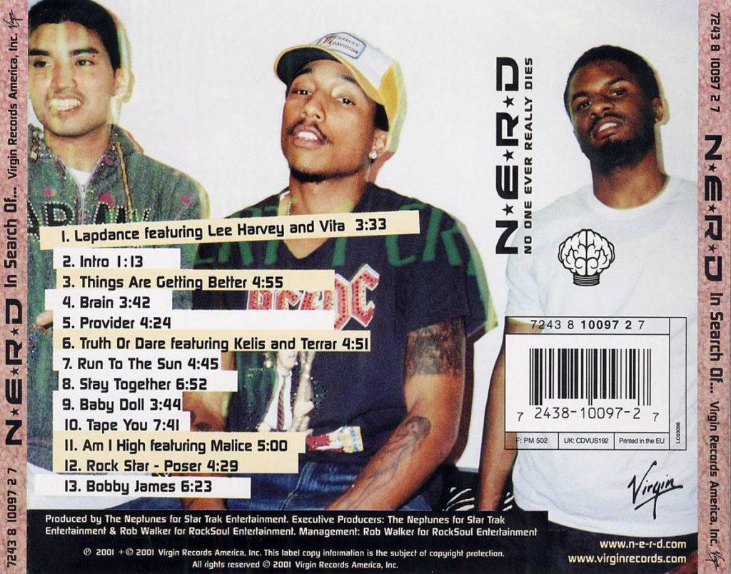 De achterkant van de 'In Search of...' CD, waarop de bandleden zijn te zien