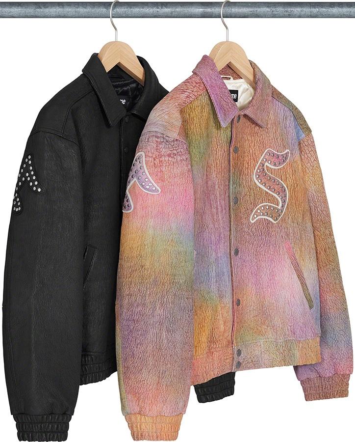 Supreme Pebbled Leather Varsity Jacket FW 21