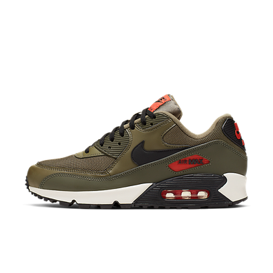 Nike Air Max 90 Essential (Medium Olive / Black - Team Orange) productafbeelding