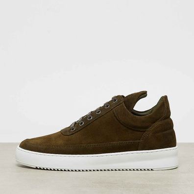Filling Pieces Low Top Ripple Waxed Suede army green productafbeelding