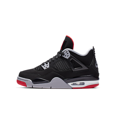 Nike Air Jordan IV Retro GS Black / Fire Red / Cement Grey productafbeelding