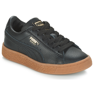 Puma PS BASKET CL GUM.BLK-GOLD productafbeelding