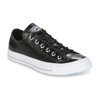 Converse CHUCK TAYLOR ALL STAR CRINKLED PATENT LEATHER OX BLACK/BLACK/WHI productafbeelding