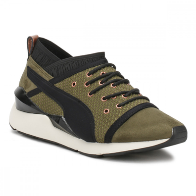 PUMA Womens Olive Green Night Pearl Trainers productafbeelding