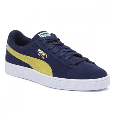 PUMA Mens Peacoat Blue / Blazing Yellow Suede Classic Trainers productafbeelding
