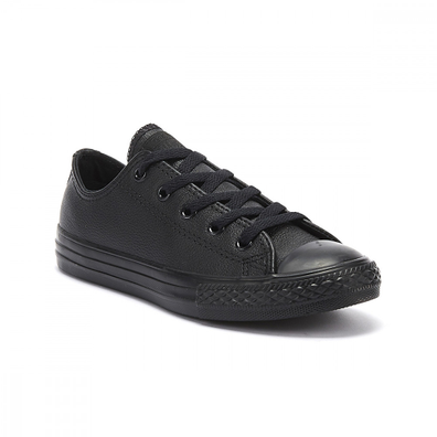 Converse All Star Ox Youth Black Mono Leather Trainers productafbeelding