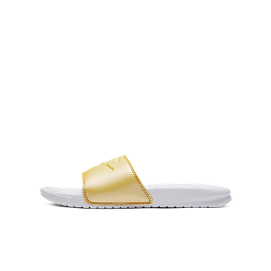 Damen Slide Benassi JDI White Yellow productafbeelding