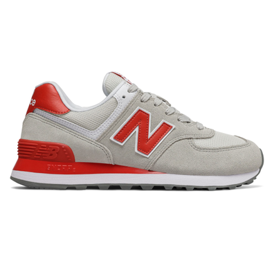 New Balance 574 Grey/ Red productafbeelding