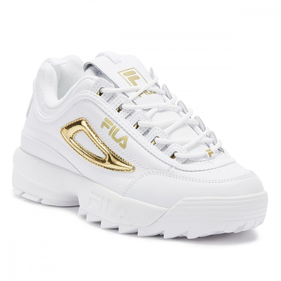 Fila Disruptor II Metallic Accent Womens White / Gold Trainers productafbeelding