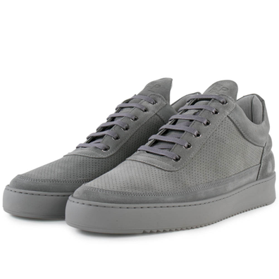 Filling Pieces Low Top Ripple Suede Perforated 'Cement Grey' productafbeelding