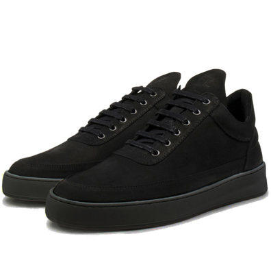 Filling Pieces Low Top Plain Lane Nubuck 'All Black' productafbeelding