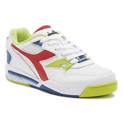 Diadora Rebound Ace Mens White / Dark Red Leather Trainers productafbeelding