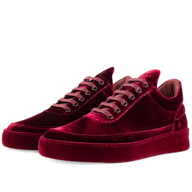 Filling Pieces Low Top Plain Velvet 'Ox Blood' productafbeelding
