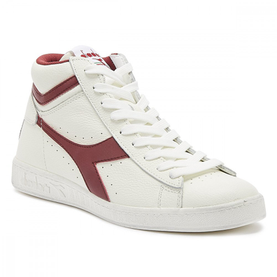 Diadora Game L High Mens Waxed White / Red Trainers productafbeelding