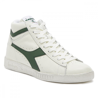 Diadora Game L High Mens Waxed White / Green Trainers productafbeelding