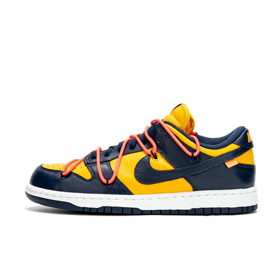 Off White X Nike Dunk Low 'Navy/Yellow' - SNKRS DAY Exclusive Access productafbeelding