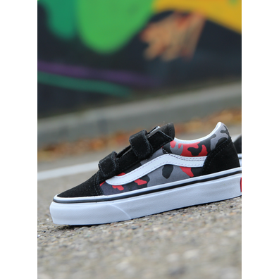 Vans Old skool V Camo/Racingred PS productafbeelding
