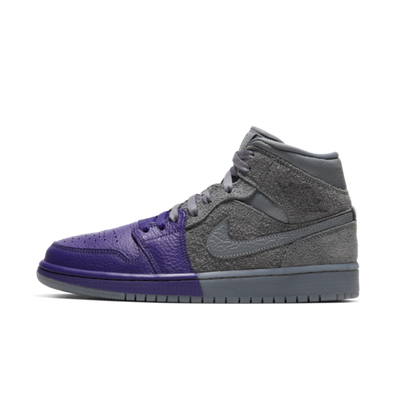 Air Jordan 1 Mid 'Grey/Purple' productafbeelding