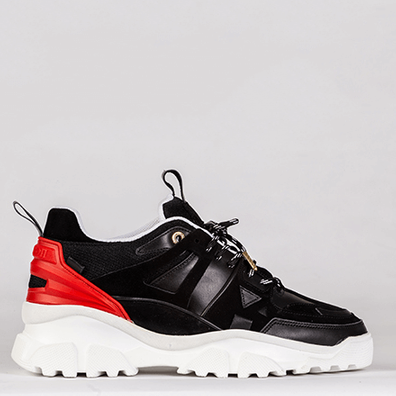Mason Garments Genova 2 Leather/Suede/Mesh/Reflective Black/Red productafbeelding