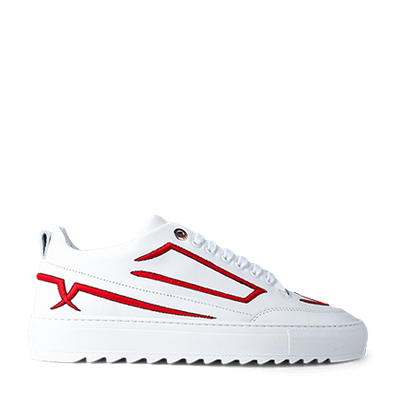 Mason Garments Torino Leather/Embroidery White/Red productafbeelding