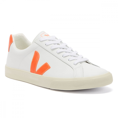 Veja Esplar Leather Womens Extra White / Orange Fluo Trainers productafbeelding