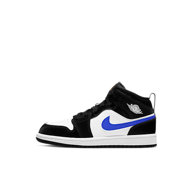 Jordan 1 Mid Black Racer Blue White (PS) productafbeelding