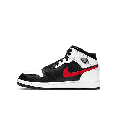 Jordan 1 Mid White Black Chile Red (GS) productafbeelding