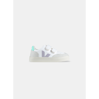 Veja V-12 Velcro White Parme Turquoise PS productafbeelding