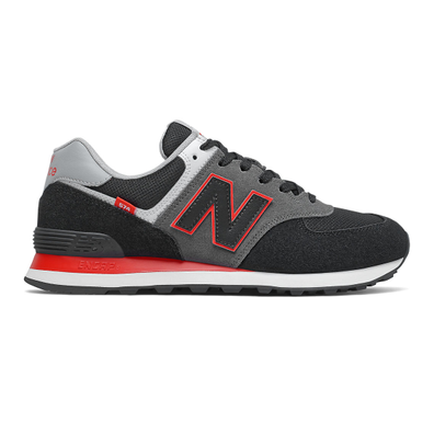 New Balance 574 - Black with Velocity Red productafbeelding
