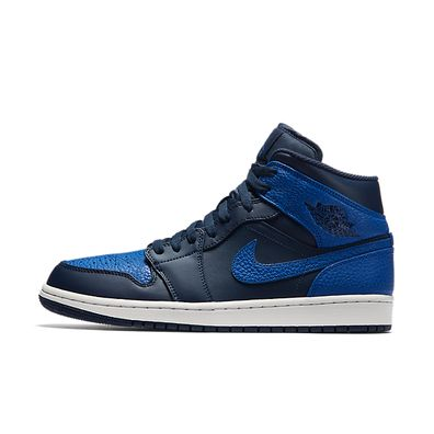 Nike Air Jordan 1 Mid (Obsidian / Game Royal - Summit White) productafbeelding