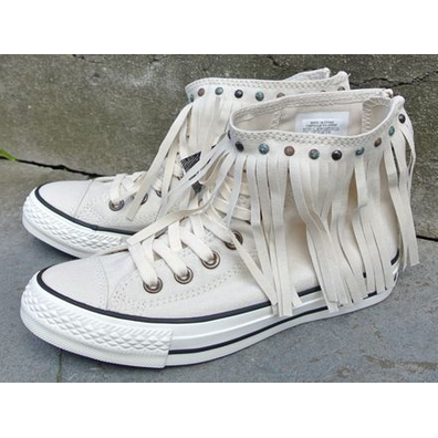 Converse Chuck Taylor All Star Fringe High Beige Parchment Egret productafbeelding