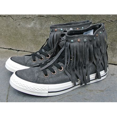 Converse Chuck Taylor All Star Fringe High Black Parchment Egret productafbeelding