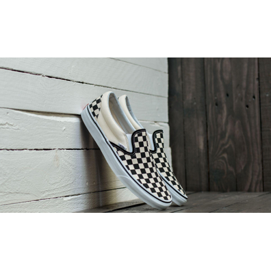 Vans Classic Slip-On Black & White Checkerboard/ White productafbeelding
