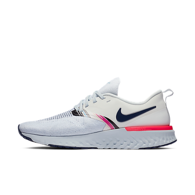 Nike Wmns Odyssey React 2 Flyknit PRM (White / Blue Void - Hyper Pink) productafbeelding