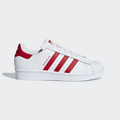Adidas Superstar White/Red GS productafbeelding