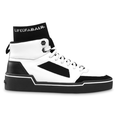 BALR. Mesh Panelled High-Top Sneakers - White / Black productafbeelding